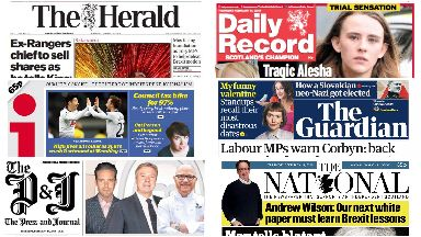 Front pages for Thursday, February 14