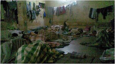 Banged up: A picture from inside the cell.
