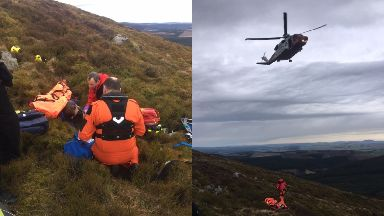 Rescued: The paraglider crashed on Tap o' Noth.