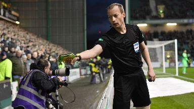 Dangerous: A bottle of Buckfast was thrown during the match.