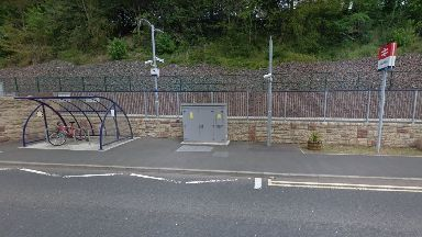Galashiels Station: Train targeted as it pulled in.