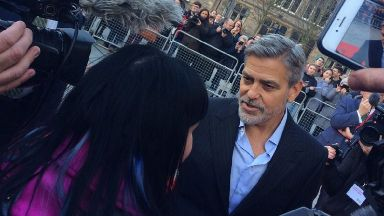 Edinburgh: George Clooney speaking to STV's Laura Boyd.