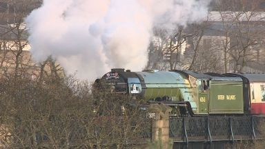 Steaming: The Tornado locomotive.