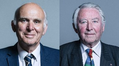 Politics: Sir Vince Cable and Lord Steel.