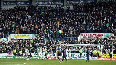 Celtic fans at Dens Park on Sunday.