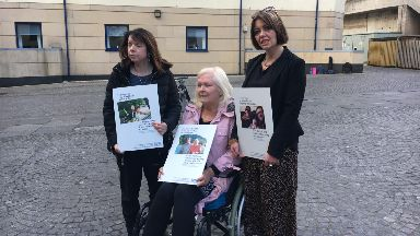 Campaigners: (From left) Liz Wilson, terminally ill woman Kim Smith and Ally Thomson.