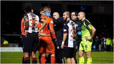 Firecracker: The loud bang gave St Mirren goalkeeper a fright.