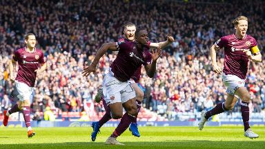 Goal: Uche Ikpeazu opened the scoring for Hearts.