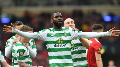 Celebrations: Edouard doubled Celtic's lead from the penalty spot.