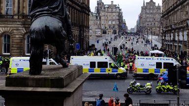 Protest: Major travel delays were caused in Edinburgh.