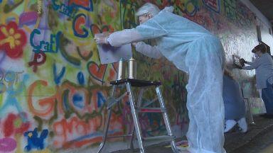 Artistic: The 16 senior citizens spent three days in the classroom learning about graffiti.