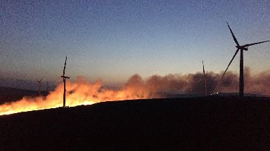 Turbines: The fire started near a wind farm.