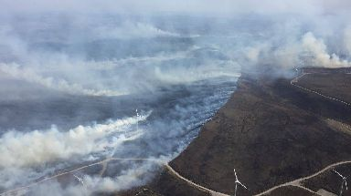 Smoke:: Aerial image shows the extent of the wildfire.