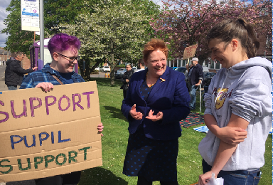 Protest: Over cuts to special-needs teaching.