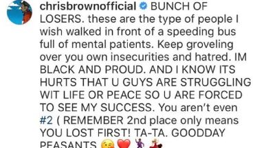 Rant: Chris Brown blasted Chvrches on Instagram.