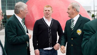 Celtic manager Neil Lennon with McNeill and Chalmers.
