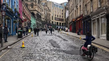 Streets: Parts of Edinburgh have become pedestrian-friendly.
