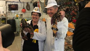 Willie Rennie: Scottish Lib Dem leader poses with live lobster.