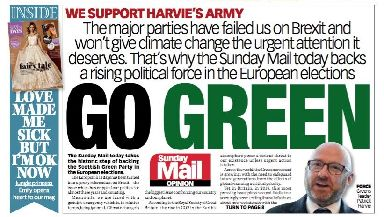 Harvie's Army: Sunday papers calls for voters to 'go Green'.