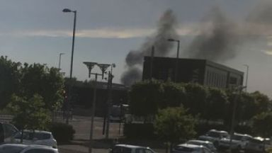 Fire: Smoke could be seen for miles.