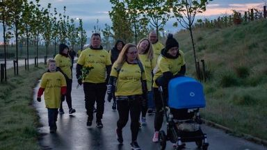 Walk of Hope: Ms D'Arcy walked from the 'dark into the light'.
