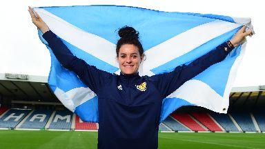 Flying the flag: Arsenal star Jen beattie.