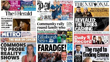 Read all about it: Front pages across Scotland on Thursday.