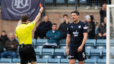 Red card: Darren O'Dea was sent off in the first half.