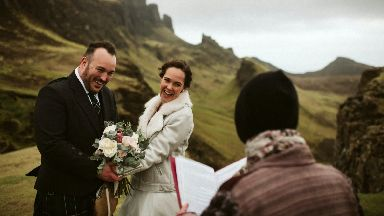Celebration: The couple exchanged their vows up a mountain.