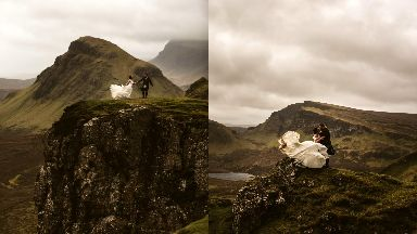 Daredevils: Mr and Mrs Mountain posed for breathtaking pictures.