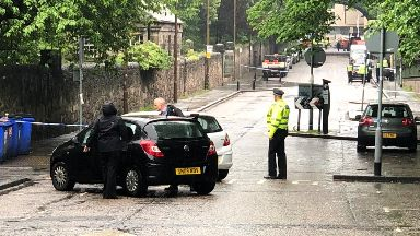 Edinburgh: Police cordoned off the area.