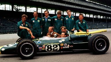 Legend: Clark with his team at the Indianapolis 500.