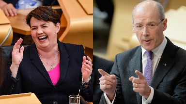 Joining forces: Ruth Davidson and John Swinney.