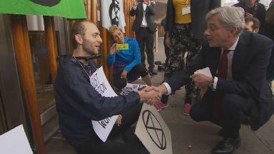 Key stunt: Richard Leonard meets campaigner.