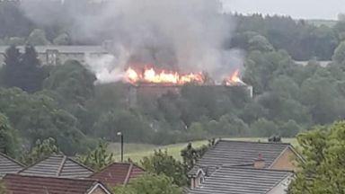 Fire: Smoke can be seen billowing.