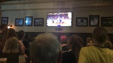 Shock: Fans watch Turkey defeat France.