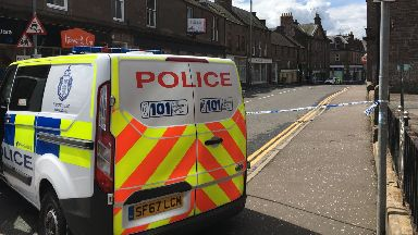 Brechin: Police taped off the road while investigations were carried out.