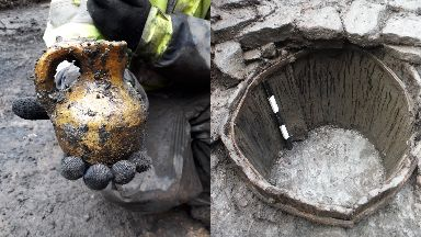 Unearthed: A medieval jug and 13th-14th century barrel were dug up.