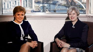 Leaders: First Minister Nicola Sturgeon and Prime Minister Theresa May.