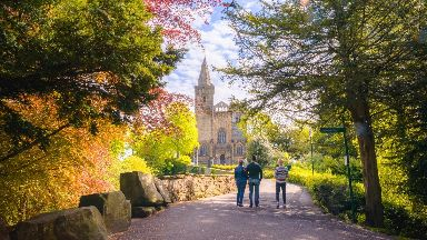 Fife: Walkers enjoying Pittencrieff Park.