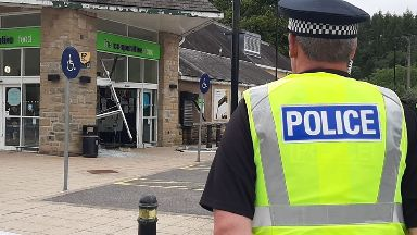 Raid: Thieves smashed into the shopfront.