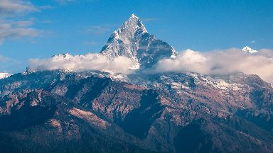 The Himalayas: The range has many of the earth's highest peaks, including Mount Everest.