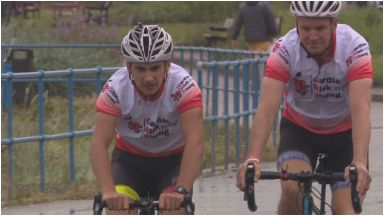 Cycling: The pair are raising money for Cardiac Risk in the Young (CRY).