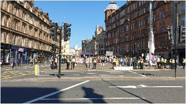Protest: Busy road closed by campaigners.