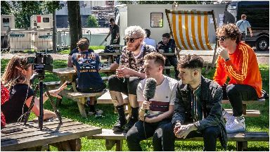 'No words': The band caught up with STV News after their set.