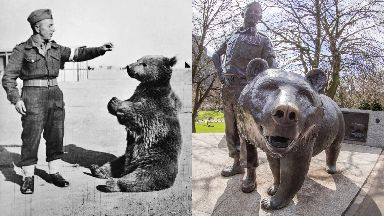 Wojtek the bear: The beloved brown bear has been honoured with a monument in Edinburgh.