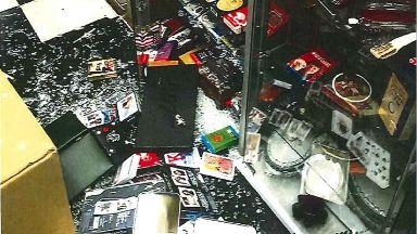 Scene: Cabinets were smashed.