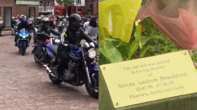 Tribute: A bike run was held in memory of Mr Donaldson.