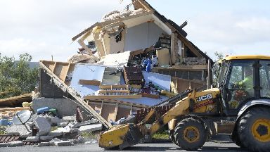 Explosion: The entire house was destroyed.