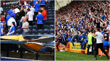 Invasion: The roof of the section housing disabled fans was wrecked.